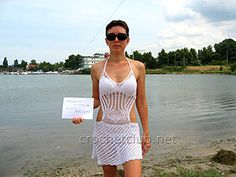 вязаный пляжный сарафан