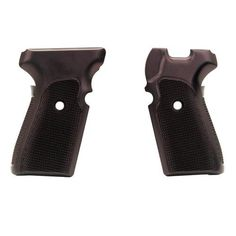 Sig P239 Grips - Checkered Aluminum Brushed Gloss Black Anodized