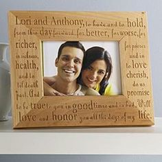 Customizable wedding promise frame available in 3 sizes.