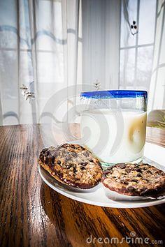 Cookies and Milk comfort food in home