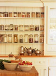 cute & functional kitchen decor// shelves for spice bottles. I prefer to buy the large spice bottles, so I'd need shelves sized to work for my preferred large bottles. Kitchen Pantry, Kitchen Dining, Kitchen Decor, Kitchen Ideas, Open Pantry, Kitchen Colors, Dining Room, Home Organization, Organization Station