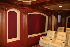 Gorgeous woodwork in custom home theater