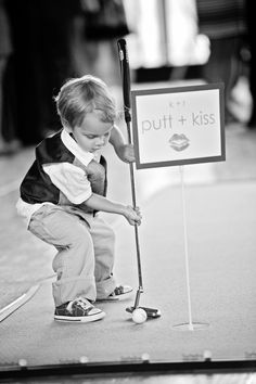 Putt and kiss! This would be so cute for kids to do that way they don't get bored! Wedding Kissing Games, Wedding Games, Cute Wedding Ideas, Wedding Inspiration, Dream Wedding, Wedding Day, Formal Wedding, Wedding Reception, Wedding Stuff