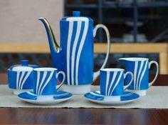 Serwis do kawy London (niebieski) - Porcelana Ćmielów