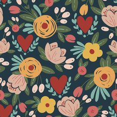Brighten any room with this modern pattern of pastel orange, yellow, peach, red, vermilion and teal flowers on a dark green background. Available in both removable peel-and-stick and permanent wallpapers. Motif Floral, Arte Floral, Love Wallpaper, Peel And Stick Wallpaper, Wallpaper Patterns, Graphic Pattern, Dark Green Background, Self Adhesive Wallpaper, Surface Pattern Design