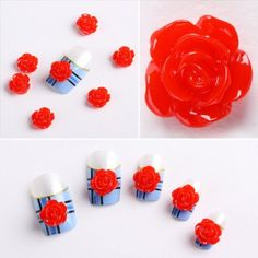 So Beauty 20pcs 3D Red Flowers Slices Nail Art Tips DIY Decoration