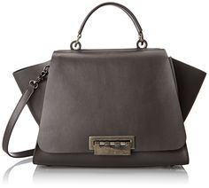 ZAC Zac Posen Eartha Iconic Soft Convertible Top Handle Bag, Charcoal, One Size. Leather satchel featuring metallic hardware and vented sides. Adjustable/removable cross-body strap.