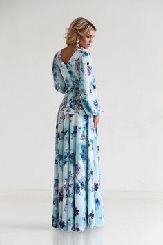 Blue dress, Floral Maxi Dress, Chiffon, long summer dress, Bridesmaids Dress, Evening Gowns, Special occasion womens dress, with sleeves
