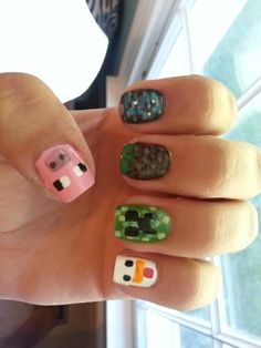 Minecraft nails- I don't usually like mine craft but these are pretty awesome!