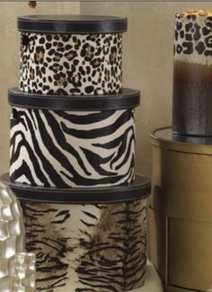 I would love to do this with one of my antique hatboxes Animal Print Furniture, Animal Print Decor, Animal Print Wallpaper, Animal Prints, Safari Home Decor, Safari Decorations, Home Decor Furniture, Painted Furniture, African Room