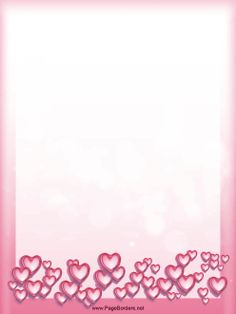 Heart-shaped bubbles decorate this pink Valentine themed border. Free to download and print.