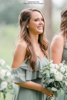 The style 'Allison' in the color 'Sage' green is a crowd favorite from Kennedy Blue. This elegant A-line chiffon dress is perfect for garden and summer weddings. Available in 100+ styles, 50+ colors, sizes 00-32, and easy to mix & match with other styles. Find your perfect bridesmaid dress online at Kennedy Blue! // green bridesmaid dresses // mismatched dresses // mix and match bridesmaid dresses // spring wedding // garden wedding // sage green // white flower bouquet // green bridal party