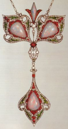 Art Nouveau Pendant featuring Pink Opals, Rubies, Green Garnets & Diamonds by Maison Vever