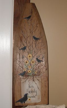 Primitive painting on old board used to stretch hyde.