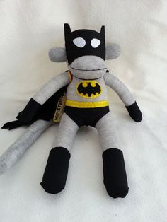Batman Sock Monkey by MunkybunsSockToys on Etsy, $45.00