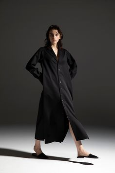 2020-21 A/W 007, Wool Gabardine Tailored Dress   DRC-D01-100F Duster Coat, 21st, Wool, Jackets, Collection, Dresses, Fashion, Gowns, Down Jackets