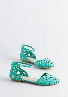 Parade You Look! Flat in Jade - Flat, Faux Leather, Green, Solid, Cutout, Casual, Daytime Party, Good, Variation