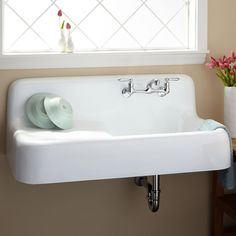 """42"""" Cast Iron Wall-Hung Kitchen Sink With Drainboard"""