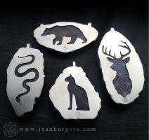 Spirit Animals by jeanburgers on DeviantArt Copper Jewelry, Stone Jewelry, Sterling Silver Jewelry, Silverware Jewelry, Horse Jewelry, Silver Work, Simple Jewelry, Jewelry Patterns, Jewellery Display