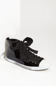 Prada Puff Lace Patent Leather High Top Sneaker