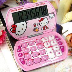 Girls New Mini Hello Kitty Foldable Pocket Basic Electronic Calculator - Pink