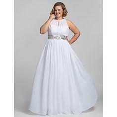 Plus Size Sheath/Column High Neck Floor-length Chiffon Stretch Satin Evening/Prom Dress – USD $ 127.79