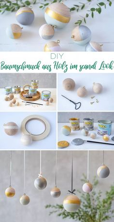 Drei DIY Projekte aus Holz für deine Weihnachtsdeko im scandi Look - Leelah Loves - Anleitung für selbst gemachte DIY Weihnachtsdeko im scandi Look mit Holzkugeln und Farbe als Christ - Homemade Christmas Decorations, Christmas Crafts, Christmas Ornaments, Halloween Decorations, Thanksgiving Crafts, White Christmas, Diy Wooden Projects, Wooden Diy, Ideas Decoracion Navidad