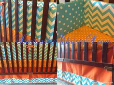 Orange and Aqua Bedding Ensemble by DesignsbyChristyS on Etsy, $265.00