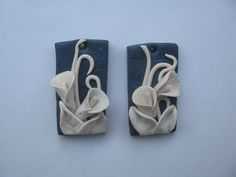 Blue earrings with white flowers Polymer Clay Creations, Blue Earrings, White Flowers, Objects, Create