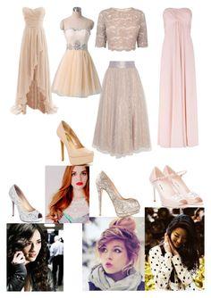 """bridesmaid outfits for Jen & Derek's wedding"" by blackwidowajlee ❤ liked on Polyvore featuring Kaliko, Jessica Simpson, Miu Miu, Giuseppe Zanotti and Lauren Lorraine"