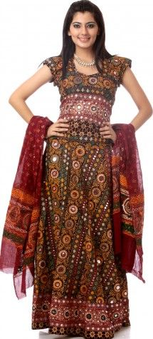 Maroon Ghagra Choli from Kutch with Embroidered Sequins and Embroidery