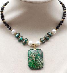 Green Sediment Jasper gemstone pendant,black Onyx beads,Pearls necklace #Pendant