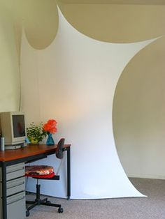 stretched fabric as a room divider