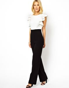 ASOS Jumpsuit in Monochrome with Ruffle Back