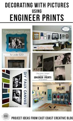 Decorating with Pictures using Engineer Prints - display your family photos by East Coast Creative via http://KristenDuke.com