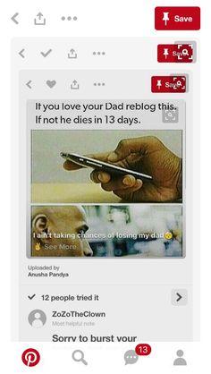 Only cause it's my dad I hate this but I can't risk loosing him