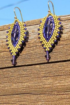 Hand-Beaded Violet and Olive Green by CreationsbyWhiteWolf on Etsy