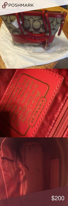 """final markdown  coach purse red leather trim NWT coach purse with red leather trim  beautiful purse . Brand new 13"""" w by 10""""depth handles are 7 1/2"""" drop  17 """" from top of handles to bottom of purse .sorry no bundles with purses Coach Bags Shoulder Bags"""