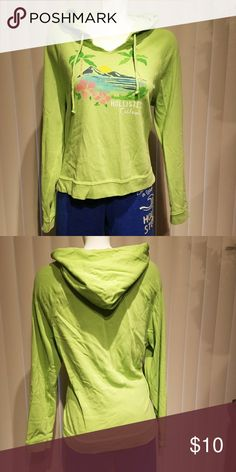 Hollister lime green graphic hooded shirt Lime green long sleeve hooded t-shirt material. Watercolor graphic online green shirt Hollister Tops Sweatshirts & Hoodies