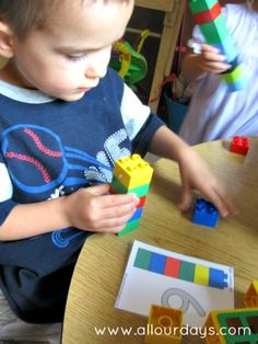 Help your kids play and learn with this fun and educational Duplo blocks busy bag activity. Work on counting, color matching, fine motor skills and more. Part of a 31 Days of Busy Bags and Quiet Time Activities http://allourdays.com/2012/10/duplo-blocks-counting-tower-matching-busy-bag.html