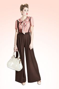 Collectif Clothing - 40s Glenda Swing Trousers Brown