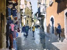 John Yardley Watercolours 2013 - Century Galleries Watercolor Landscape Paintings, Watercolor Artists, Watercolor Portraits, Watercolor Techniques, Abstract Watercolor, Watercolour Painting, Watercolors, Italy Landscape, Urban Landscape