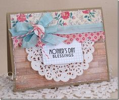 Mother's Day card by Maureen Plut using Verve Stamps. Mother's Day card by Maureen Plut Mom Cards, Fathers Day Cards, Cute Cards, Cards Diy, Shabby Chic Karten, Handmade Card Making, Card Sketches, Paper Cards, Homemade Cards