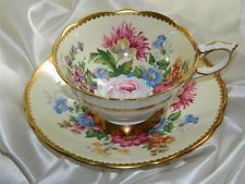 Vintage Royal Stafford CELEBRITY Wide Rimmed Tea Cup & Saucer Pastel Yellow
