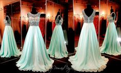 Mint/Nude Prom or Pageant Dress-Flowing Chiffon A-Line Skirt-High Beaded Neckline-Beaded V-Back-115DJ0136300335 at Rsvp Prom and Pageant, Atlanta, GA