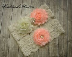 Peach Bridal Garter Set