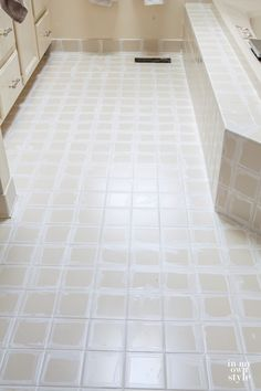 Does the grout between your tiles look dingy and dirty? Want an affordable way to whiten tile grout? Check out this photo tutorial that shows you how inexpensive and easy it is to do. | In My Own Style
