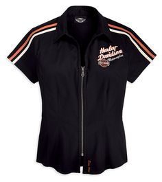 99089 Womens, Black S/S Prestige Stretch Woven Shirt Motorcycle Style, Motorcycle Fashion, Harley Davidson Store, Biker Accessories, Dress Up Day, Riding Gear, Biker Chick, Gothic Outfits, Adidas Jacket