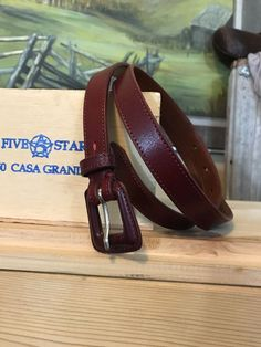 Women's Cole Haan Oxblood Red Leather Skinny Belt Silver USA M   | eBay