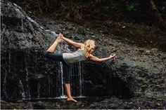 Rasa Pescud wearing Lhotse organic yoga clothing. Photographed on Karekare beach, New Zealand.